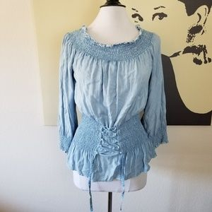 Light Wash Blouse with Front Tie Corset L NWT